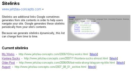 Sitelinks inside Google Webmaster Tools