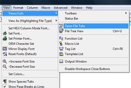 UltraEdit File Tab