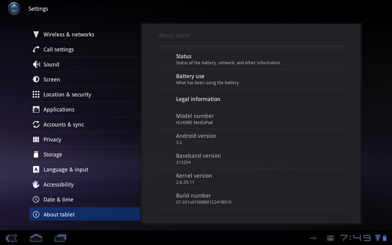 Huawei Mediapad: About the tablet
