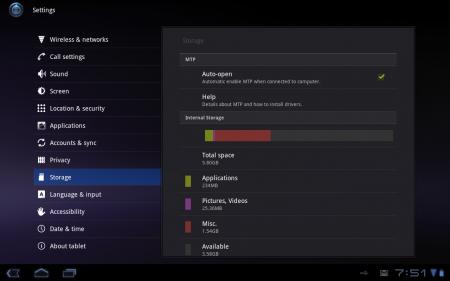 Huawei Mediapad S7-301u: Storage Overview